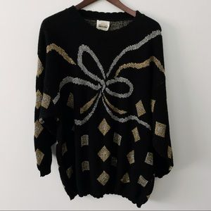 Vintage Bentley Woman Sweater Gold with Bow